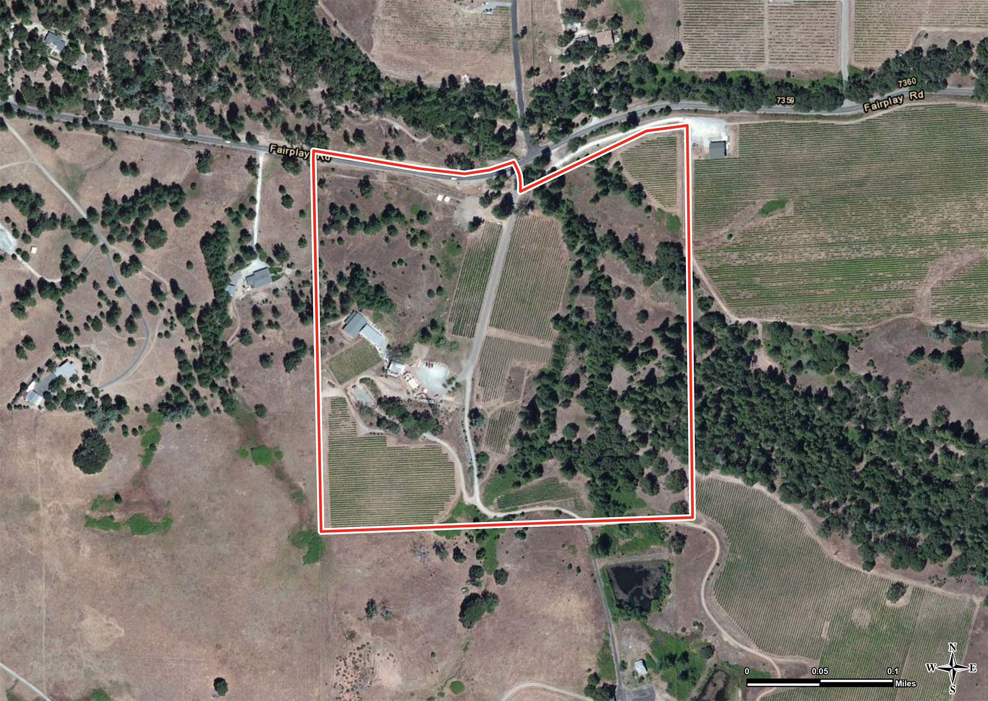 Fair Play winery and vineyard aerial, winery for sale