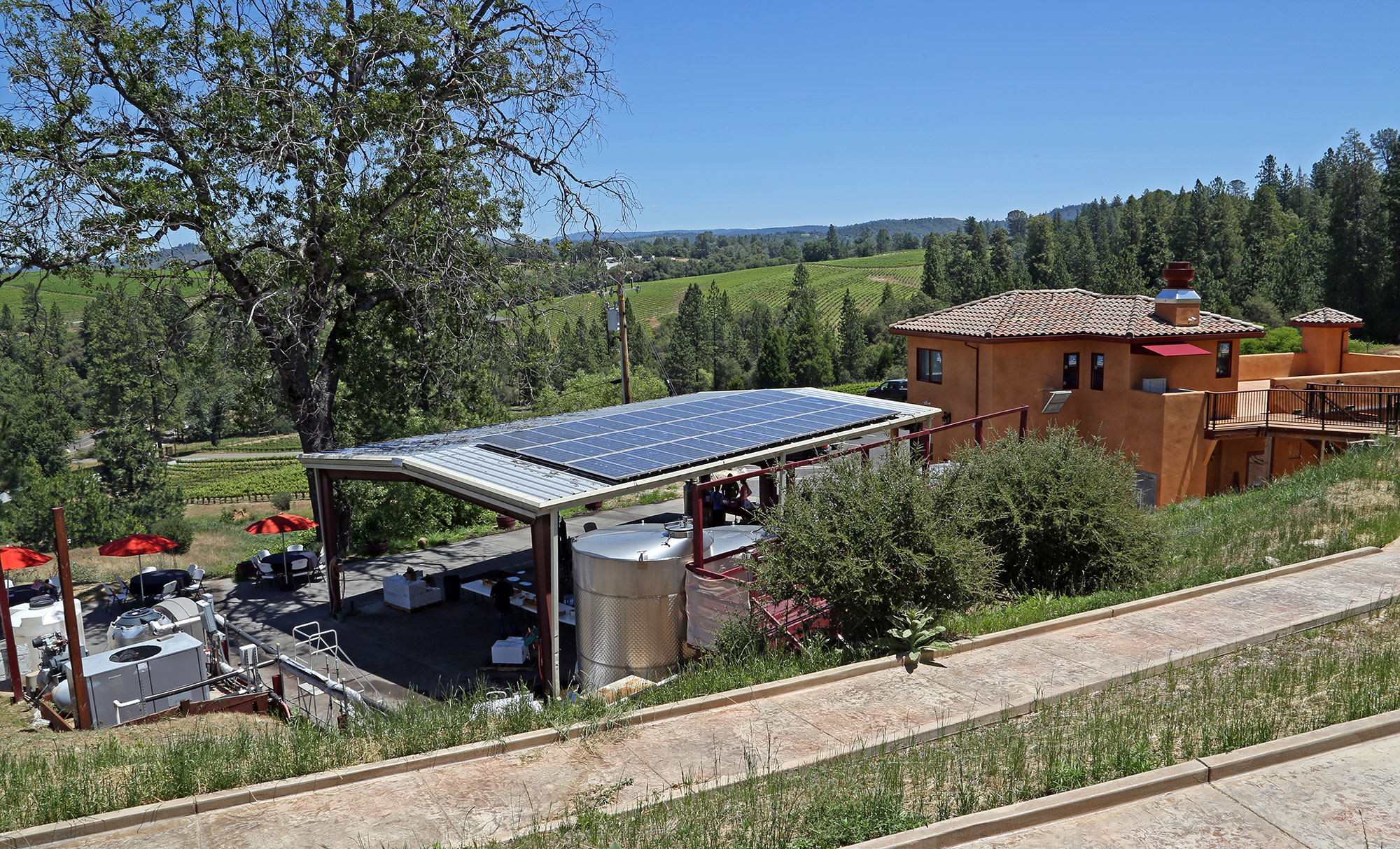 Sierra Foothills Covered Crush Pad and Wine Tanks