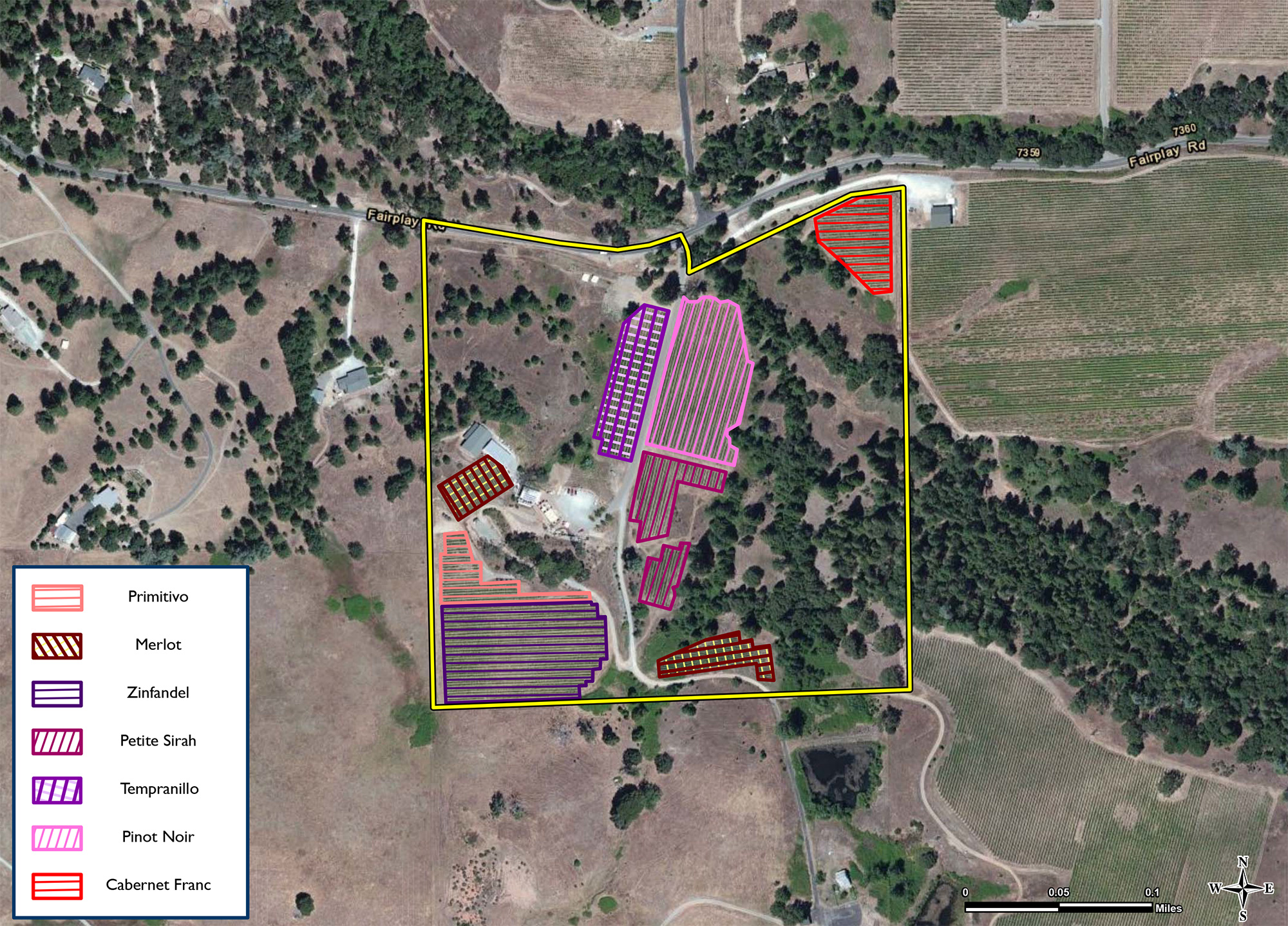 Vineyard Block Map, Winery for sale, Sierra Foothills, Fair Play